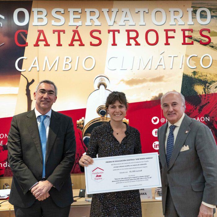 El Observatorio de Catástrofes de la Fundación Aon España entrega el Premio Divulgación Científica José María Sarriegi 2019